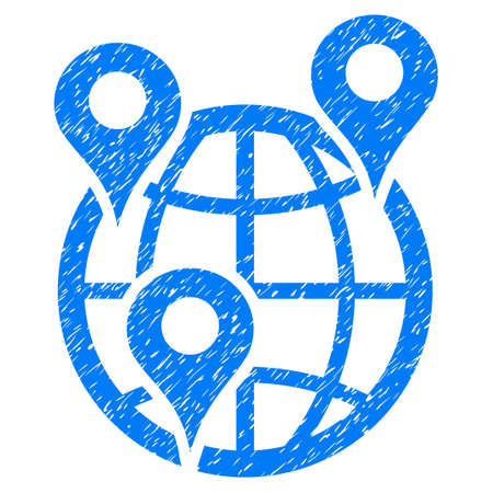 Grunge Global Company Branches rubber seal stamp watermark. Icon symbol with grunge design and dirty texture. Unclean vector blue sign.