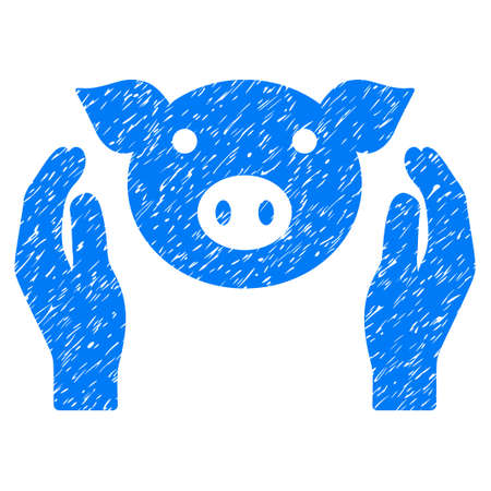 Grunge Pig Care Hands rubber seal stamp watermark. Icon symbol with grunge design and unclean texture. Unclean vector blue sticker.