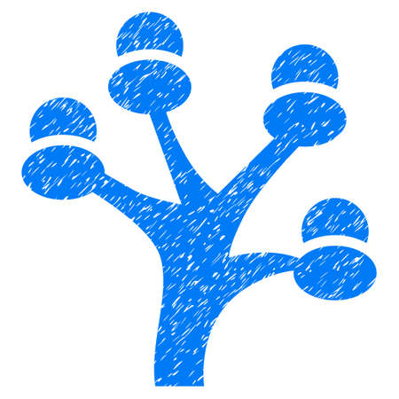 Grunge Money Tree rubber seal stamp watermark. Icon symbol with grunge design and unclean texture. Unclean vector blue emblem.
