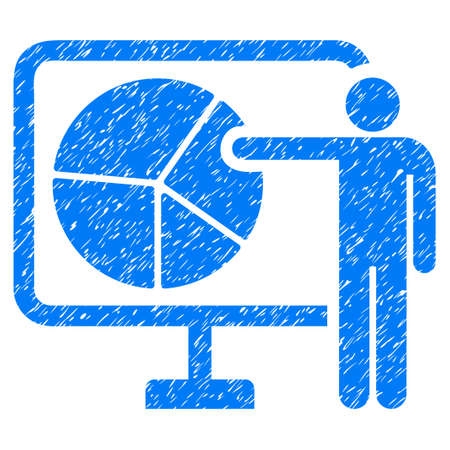 Grunge Pie Chart Public Report rubber seal stamp watermark. Icon symbol with grunge design and dirty texture. Unclean vector blue sign.