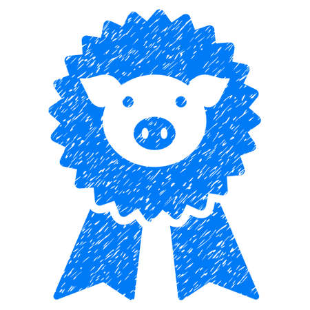 Grunge Pig Award Seal rubber seal stamp watermark. Icon symbol with grunge design and scratched texture. Unclean vector blue sticker. Illustration