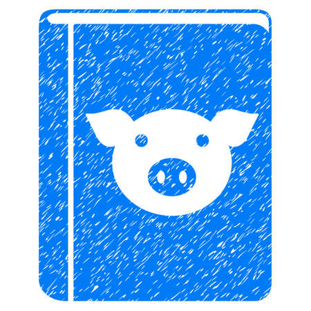 old notebook: Grunge Pig Book rubber seal stamp watermark. Icon symbol with grunge design and scratched texture. Unclean vector blue emblem.