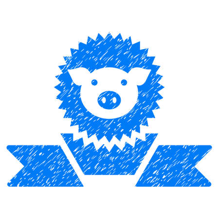 Grunge Pig Reward Ribbon rubber seal stamp watermark. Icon symbol with grunge design and dust texture. Unclean vector blue sticker. Illustration