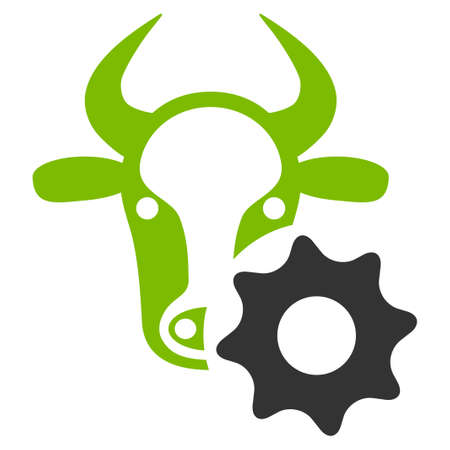 Cow Options Gear vector icon. Flat bicolor eco green and gray symbol. Pictogram is isolated on a white background. Designed for web and software interfaces. Illustration