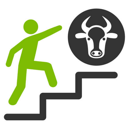 Person Climbing To Cow vector icon. Flat bicolor eco green and gray symbol. Pictogram is isolated on a white background. Designed for web and software interfaces.