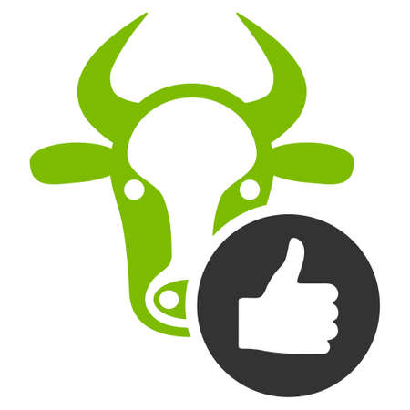 Cow Thumb Up vector icon. Flat bicolor eco green and gray symbol. Pictogram is isolated on a white background. Designed for web and software interfaces.