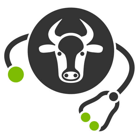 Cow Veterinary vector icon. Flat bicolor eco green and gray symbol. Pictogram is isolated on a white background. Designed for web and software interfaces. Ilustração
