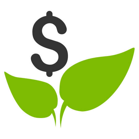 Eco Startup vector icon. Flat bicolor eco green and gray symbol. Pictogram is isolated on a white background. Designed for web and software interfaces.