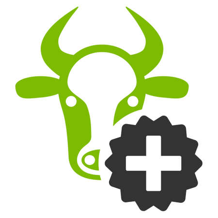 Cow Create vector icon. Flat bicolor eco green and gray symbol. Pictogram is isolated on a white background. Designed for web and software interfaces. Illustration