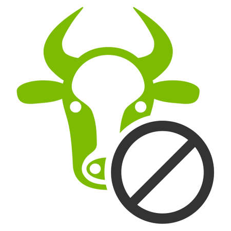 Cow Forbidden vector icon. Flat bicolor eco green and gray symbol. Pictogram is isolated on a white background. Designed for web and software interfaces. Illustration
