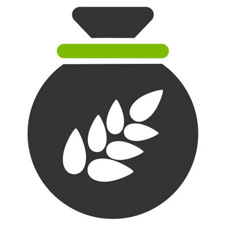 Grain Harvest Sack vector icon. Flat bicolor eco green and gray symbol. Pictogram is isolated on a white background. Designed for web and software interfaces.