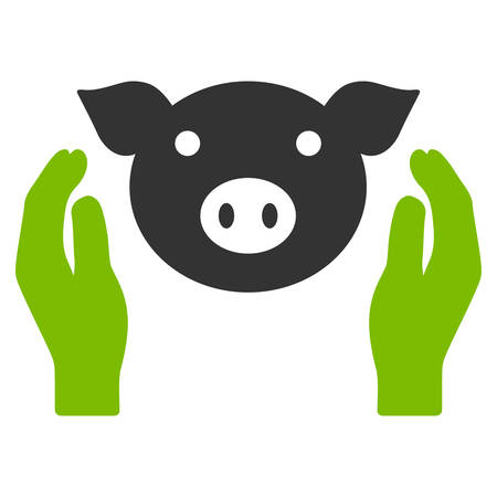 Pig Care Hands vector icon. Flat bicolor eco green and gray symbol. Pictogram is isolated on a white background. Designed for web and software interfaces.