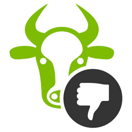 Cow Thumb Down vector icon. Flat bicolor eco green and gray symbol. Pictogram is isolated on a white background. Designed for web and software interfaces.
