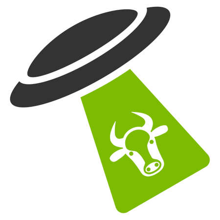 abduct: Cattle UFO Abduction vector icon. Flat bicolor eco green and gray symbol. Pictogram is isolated on a white background. Designed for web and software interfaces.