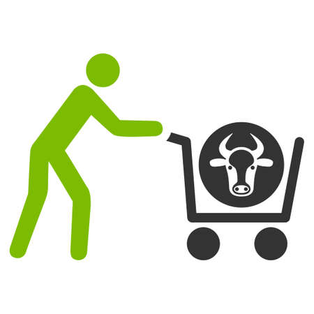 Beef Purchase raster icon. Flat bicolor eco green and gray symbol. Pictogram is isolated on a white background. Designed for web and software interfaces. Stock Photo