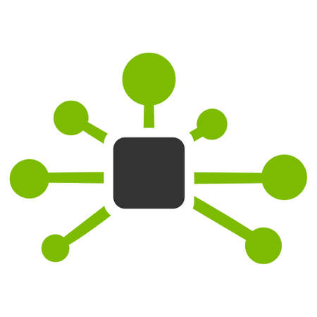 Connection Relations raster icon. Flat bicolor eco green and gray symbol. Pictogram is isolated on a white background. Designed for web and software interfaces.