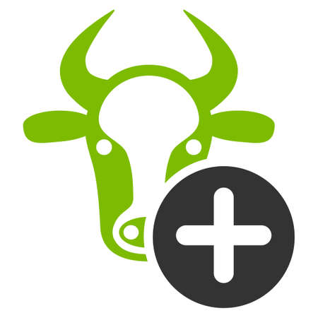 Cow Add raster icon. Flat bicolor eco green and gray symbol. Pictogram is isolated on a white background. Designed for web and software interfaces.