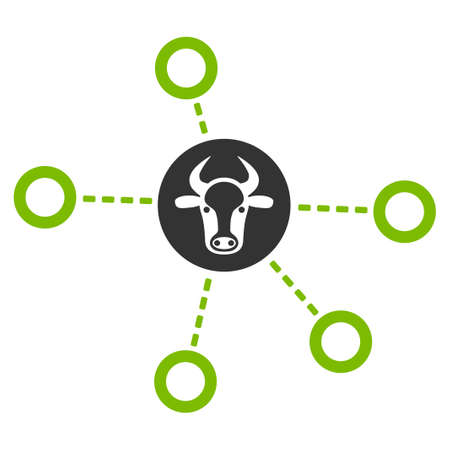 Cow Relations raster icon. Flat bicolor eco green and gray symbol. Pictogram is isolated on a white background. Designed for web and software interfaces.