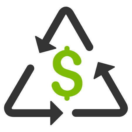 Financial Recycling raster icon. Flat bicolor eco green and gray symbol. Pictogram is isolated on a white background. Designed for web and software interfaces.