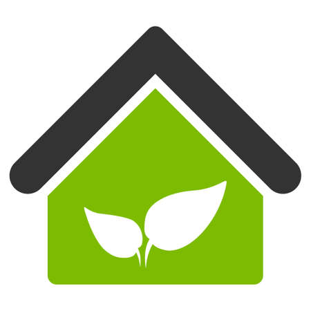 Greenhouse raster icon. Flat bicolor eco green and gray symbol. Pictogram is isolated on a white background. Designed for web and software interfaces. Stock Photo