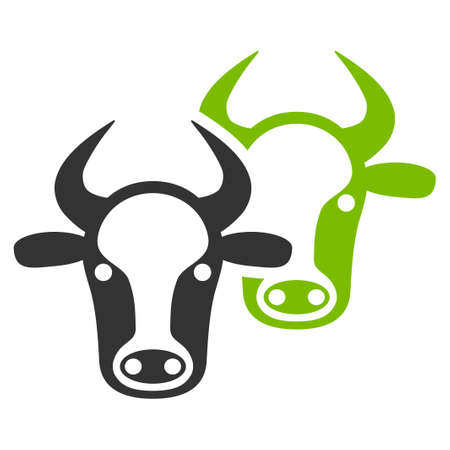 Livestock raster icon. Flat bicolor eco green and gray symbol. Pictogram is isolated on a white background. Designed for web and software interfaces.