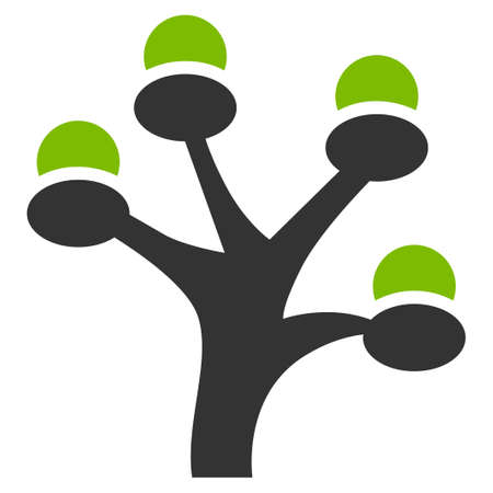 Money Tree raster icon. Flat bicolor eco green and gray symbol. Pictogram is isolated on a white background. Designed for web and software interfaces.