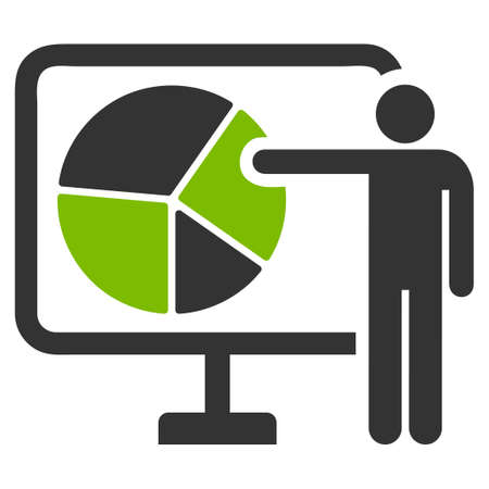 Pie Chart Public Report raster icon. Flat bicolor eco green and gray symbol. Pictogram is isolated on a white background. Designed for web and software interfaces. Stock Photo