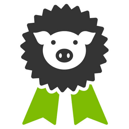 approval icon: Pig Award Seal raster icon. Flat bicolor eco green and gray symbol. Pictogram is isolated on a white background. Designed for web and software interfaces.