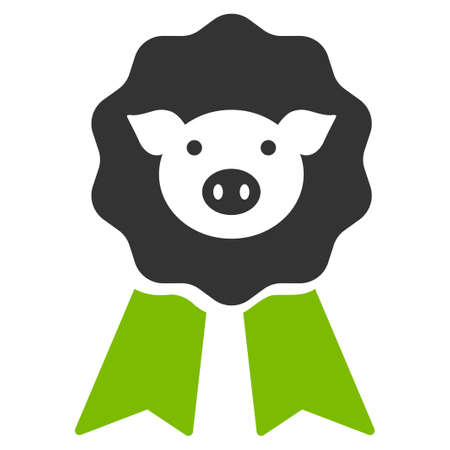 approval rate: Pig Award Stamp raster icon. Flat bicolor eco green and gray symbol. Pictogram is isolated on a white background. Designed for web and software interfaces.