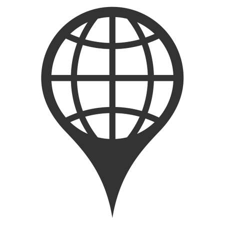 Global Location raster icon. Flat gray symbol. Pictogram is isolated on a white background. Designed for web and software interfaces. Stock Photo