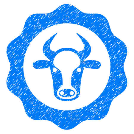 Grunge Beef Certificate rubber seal stamp watermark. Icon symbol with grunge design and dust texture. Unclean raster blue sticker. Stock Photo