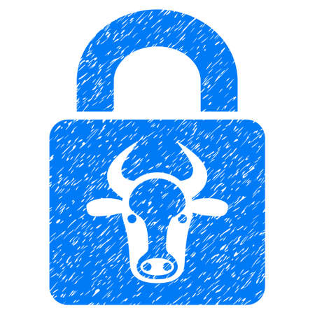 Grunge Bull Lock rubber seal stamp watermark. Icon symbol with grunge design and dirty texture. Unclean raster blue sign.