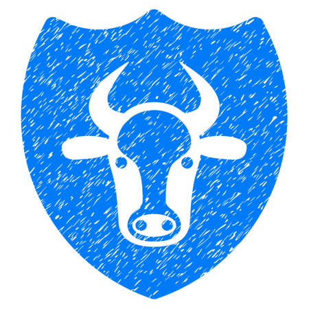 Grunge Bull Shield rubber seal stamp watermark. Icon symbol with grunge design and scratched texture. Unclean raster blue sign.