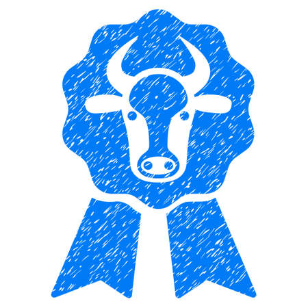Grunge Cow Award Seal rubber seal stamp watermark. Icon symbol with grunge design and dirty texture. Unclean raster blue sign. Stock Photo