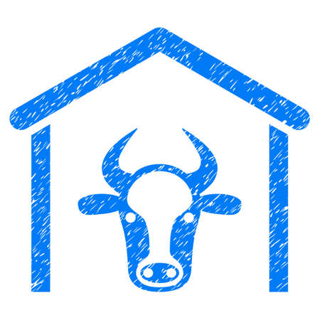 domestic garage: Grunge Cow Garage rubber seal stamp watermark. Icon symbol with grunge design and unclean texture. Unclean raster blue sign. Stock Photo