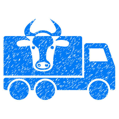 Grunge Cow Transportation rubber seal stamp watermark. Icon symbol with grunge design and unclean texture. Unclean raster blue sign.
