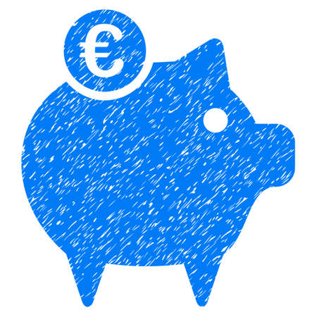 Grunge Euro Piggy Bank rubber seal stamp watermark. Icon symbol with grunge design and unclean texture. Unclean raster blue emblem.