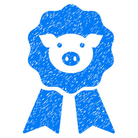 Grunge Pig Award Stamp rubber seal stamp watermark. Icon symbol with grunge design and dust texture. Unclean raster blue emblem.