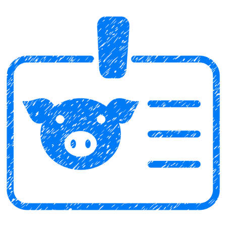 Grunge Pig Badge rubber seal stamp watermark. Icon symbol with grunge design and dirty texture. Unclean raster blue sign. Stock Photo