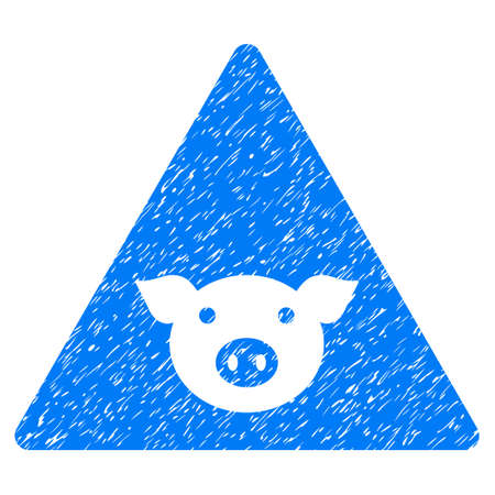 Grunge Pig Error rubber seal stamp watermark. Icon symbol with grunge design and dirty texture. Unclean raster blue emblem.