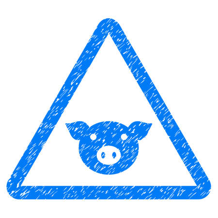 Grunge Pig Warning rubber seal stamp watermark. Icon symbol with grunge design and dirty texture. Unclean raster blue emblem.