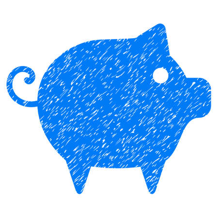 Grunge Piggy rubber seal stamp watermark. Icon symbol with grunge design and dirty texture. Unclean raster blue sticker.