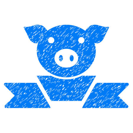 Grunge Pork Award Ribbon rubber seal stamp watermark. Icon symbol with grunge design and scratched texture. Unclean raster blue emblem.