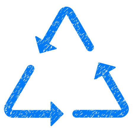 Grunge Recycling Triangle rubber seal stamp watermark. Icon symbol with grunge design and scratched texture. Unclean raster blue sticker.