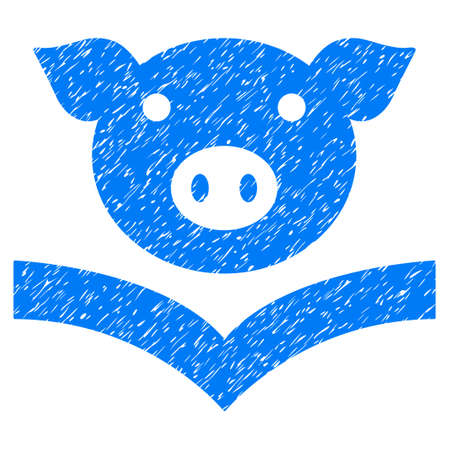 Grunge Pig Knowledge rubber seal stamp watermark. Icon symbol with grunge design and unclean texture. Unclean raster blue emblem.