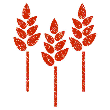 Grunge Wheat Ears rubber seal stamp watermark. Icon symbol with grunge design and scratched texture. Unclean vector red sign.