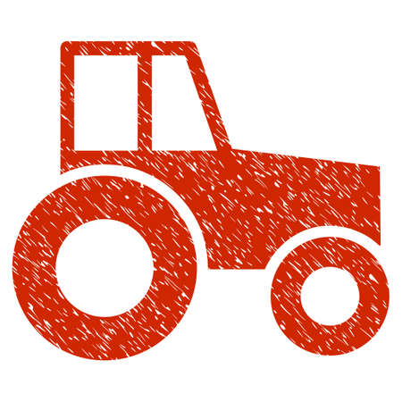 Grunge Wheeled Tractor rubber seal stamp watermark. Icon symbol with grunge design and unclean texture. Unclean vector red sticker.