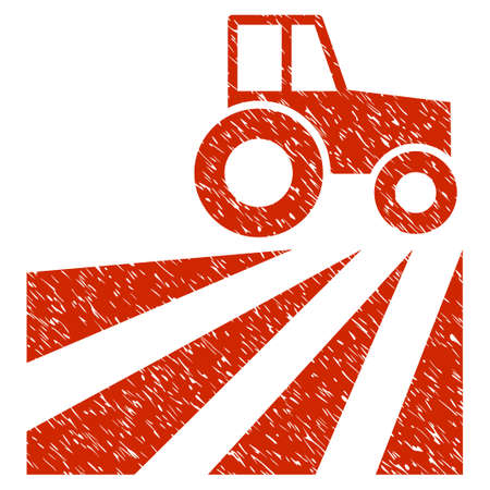 Grunge Farm Field With Tractor rubber seal stamp watermark. Icon symbol with grunge design and dirty texture. Unclean raster red sign. Stock Photo