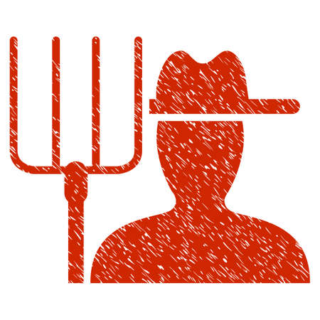 Grunge Farmer With Pitchfork rubber seal stamp watermark. Icon symbol with grunge design and dirty texture. Unclean raster red sticker. Stock Photo
