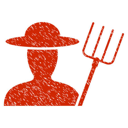 agronomist: Grunge Farmer With Pitchfork rubber seal stamp watermark. Icon symbol with grunge design and dust texture. Unclean raster red sign. Stock Photo